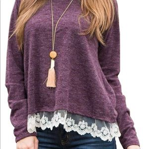 Sweaters - Lace Trimmed Flowy Sweater